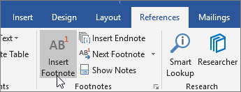 On the References tab choose Insert Footnote