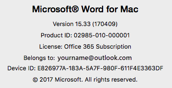Screenshot showing the About Word page on Word for Mac
