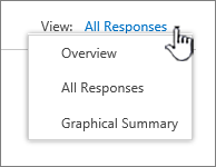 Survey view dropdown menu with down arrow highlighted