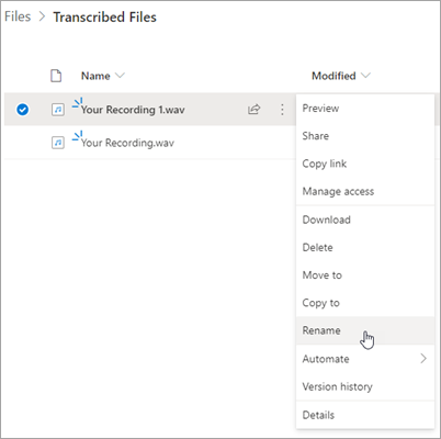 OneDrive file interface with recording highlighted and Rename option highlighted in the context menu