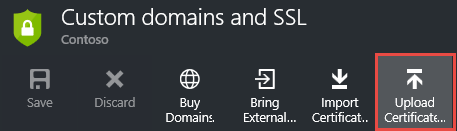 web app settings upload certificates