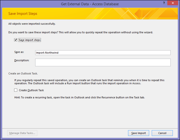 The Save Import Steps dialog box
