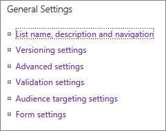List general settings links