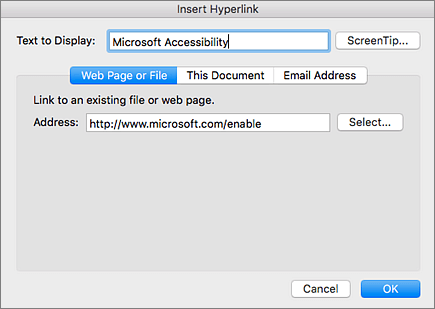 Screenshot of the Insert Hyperlink dialog