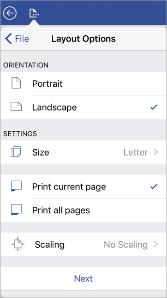Print layout options, such as orientation, size, which pages to print, and scaling.