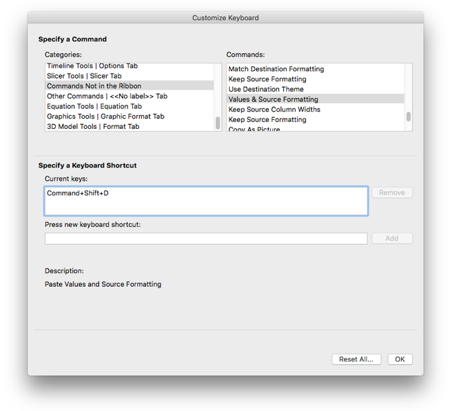 Excel for Mac Keyboard customizations