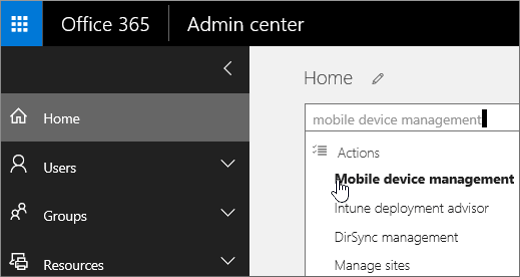 Search for mobile device management in the admin center
