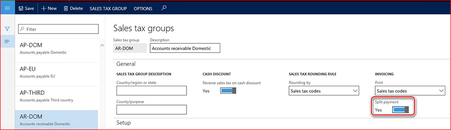 This image shows how to enable the Split payment parameter.