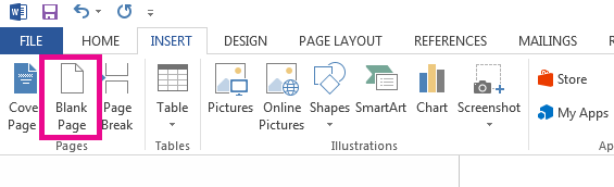 The Blank Page option is on the Insert Tab.