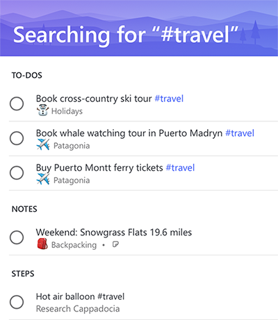 Screenshot showing all of the to-dos, notes and Steps that share the tag #travel