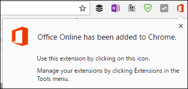 Chrome notifies you that the Office Online extension has been successfully added