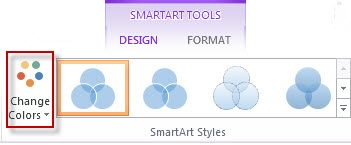 Create a venn diagram office support change colors option in the smartart styles group ccuart