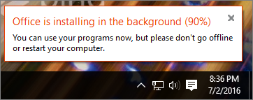 Dialog showing installation of Office stuck at 90%