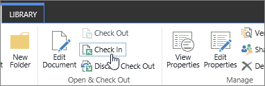 document check in button and tool tip