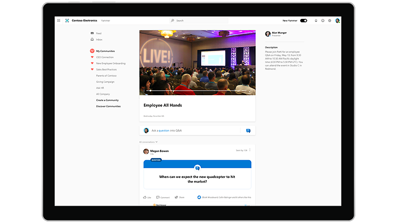 Yammer new live events
