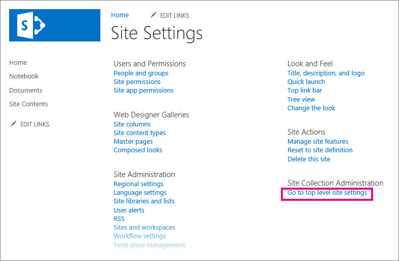 Manage rss feeds for a site or site collection sharepoint Go to the website