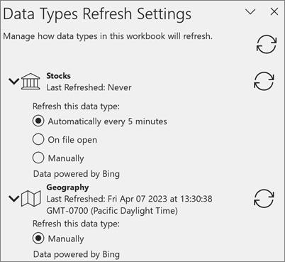 The Refresh Settings pane for data types.