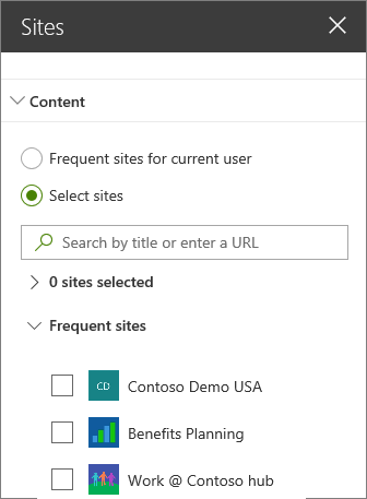 Sites web part settings
