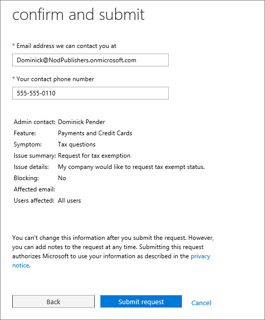 "Screenshot of the ""confirm and submit"" page in the Office 365 Admin Center Service Request form."