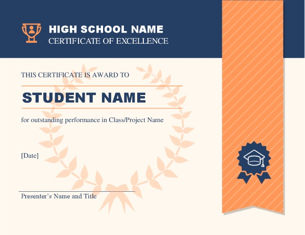 Image of a high school certificate