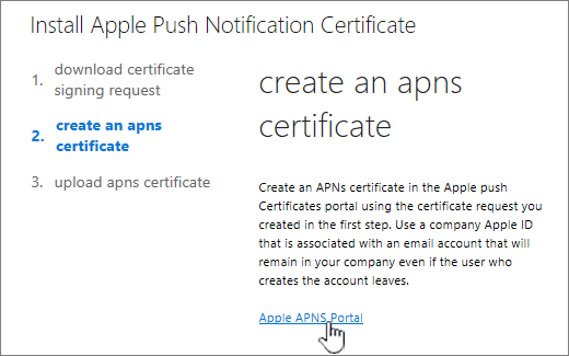 Install APN Notification cert dialog with Apple APNS Portal selected