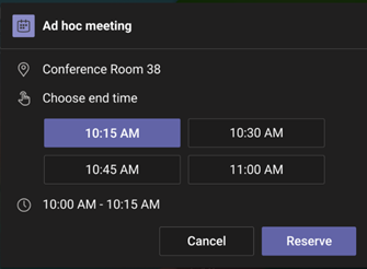 Reserve room for ad-hoc meeting