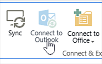 Ribbon with disabled connect to outlook button with it highlighted