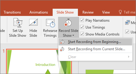 Shows start recording button in PowerPoint