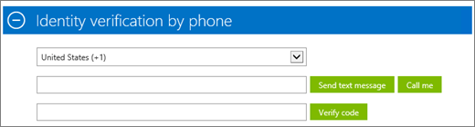 Shows the Identity verification by phone section of the Azure subscription sign-up, where you enter the confirmation code and then click Verify code.