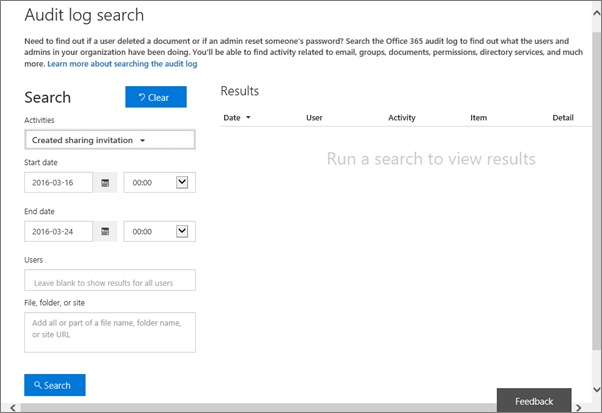 Office 365 Activity Report filtered for invitation creation