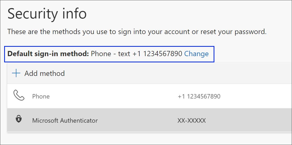 Change link for default sign-in method
