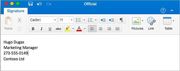 Showing Signature Editor