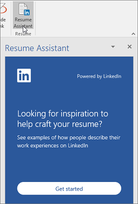 On the Review tab, click Resume Assistant. If it's the first time you've used Resume Assistant, click Get started.