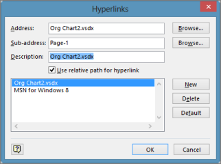 Edit hyperlinks dialog box