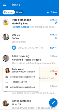 Inbox with one person's contact info enlarged