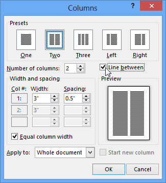 Columns dialog box with Line between selected
