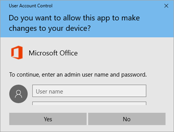 Screenshot showing User Account Control window