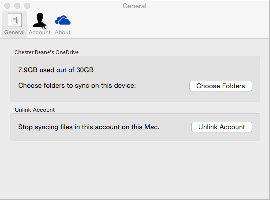 Sync folder selection in OneDrive for Mac