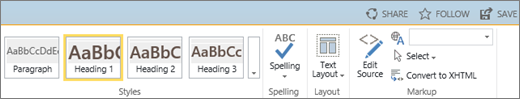 Screenshot of a section of the SharePoint Online ribbon with the Share, Follow, and Save controls.