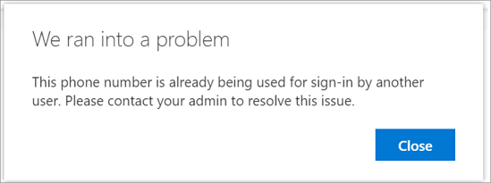Error message when your phone number is already used]
