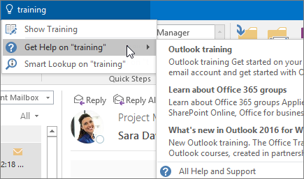 Tell me tool in Outlook