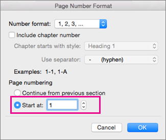 In the Page Number format box, Start at = 1.