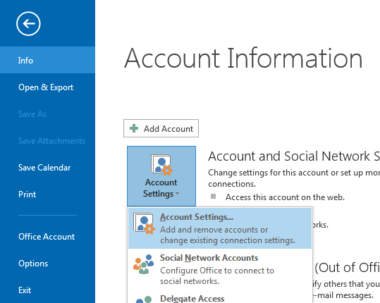 The Account Settings option can be found in the Account Information pane.