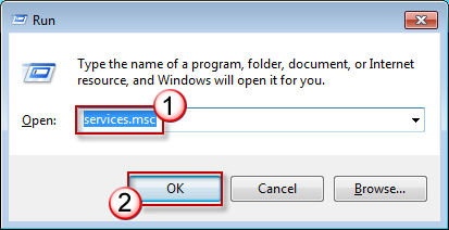 Press Win + R keyboard shortcut, type services.msc, and then press ENTER.