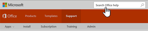 Office support site search box highlighted