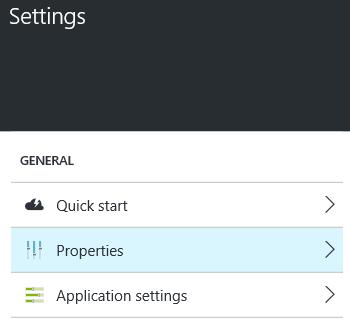 web app settings properties