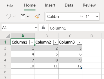 Excel data formatted as a table