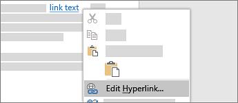 Edit a hyperlink
