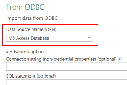Power Query - ODBC Connector—Support for selecting User/System DSNs