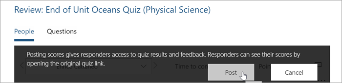 Select Post to return quiz results and feedback to students.